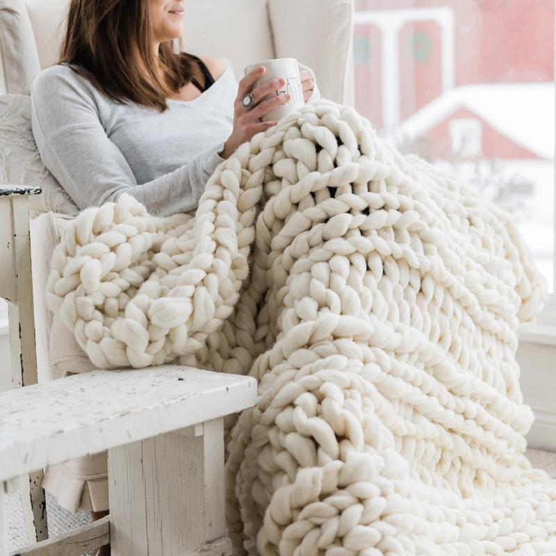 80x100CM Handmade Knit Knitted Blankets Soft Thick Cotton Throw Sofa Bed Decor - 6