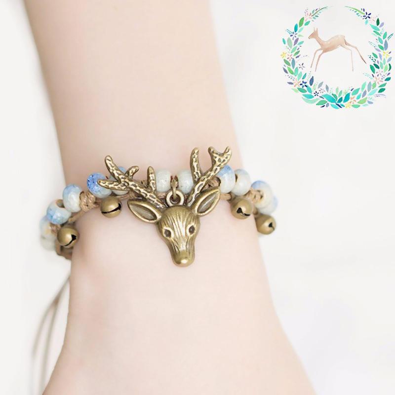 Vintage Deer Charm Bracelet Ethnic Small Bell Wax Rope Beaded Bracelet Handmade Unisex Jeweley