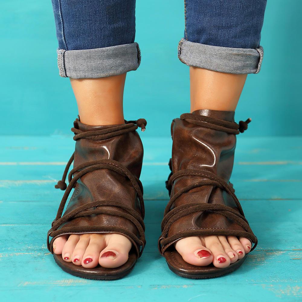 Large Size Vintage Open Toe Casual Zipper Flat Sandals - 1