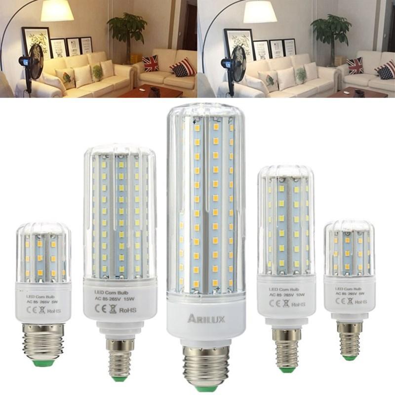 Arilux Hl Cb 02 E27 E14 5w 10w 15w 20w Smd2835 No Strobe Led Corn Light Bulb Ac85 265v