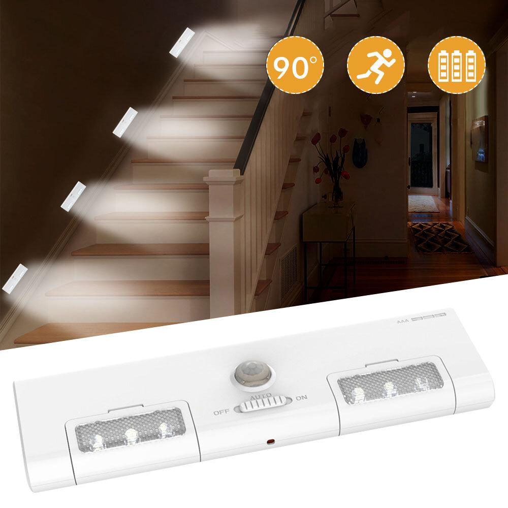 [Batteridrift] KCASA KC-LT1 LED Trådlös PIR Rörelsessensor Skåp Skåp Ljuslampa 6 LED 90 ° Ljusvinkel för Hone / Garage / Entré / Hall / Källare