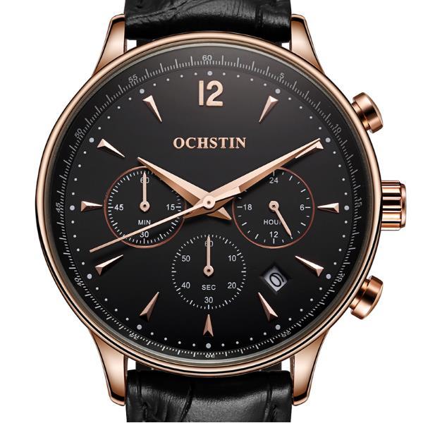 OCHSTIN GQ050A Fashion Leather Strap Men Quartz Watch Luxury Sub-dial Business Watch