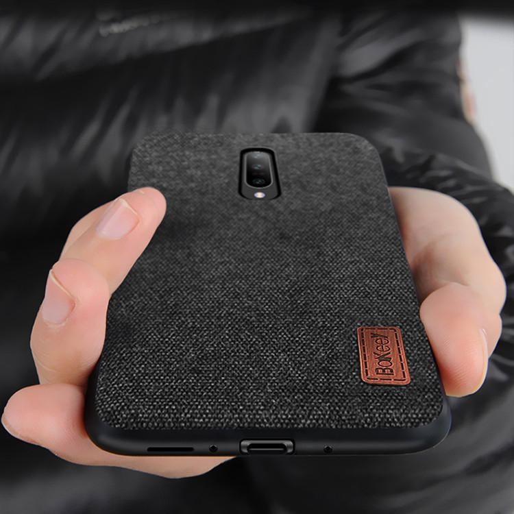 Bakeey Luxury Fabric Splice Soft Silicone Edge Shockproof Protective Case For OnePlus 7 Pro