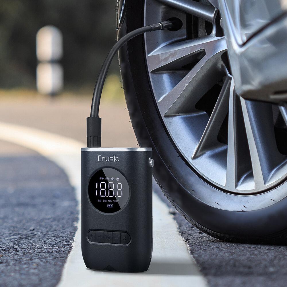 Enusic ™ 4000mAh 150PSI Display OLED sem fio Bomba de ar digital com detecção de pressão de pneu LED inflador TP03 para