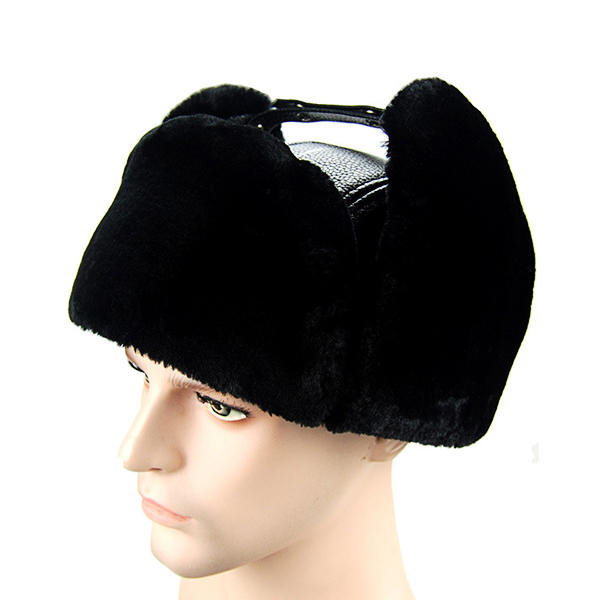 Winter Warm First Layer Cowhide Adjustable Beret Cap - 2