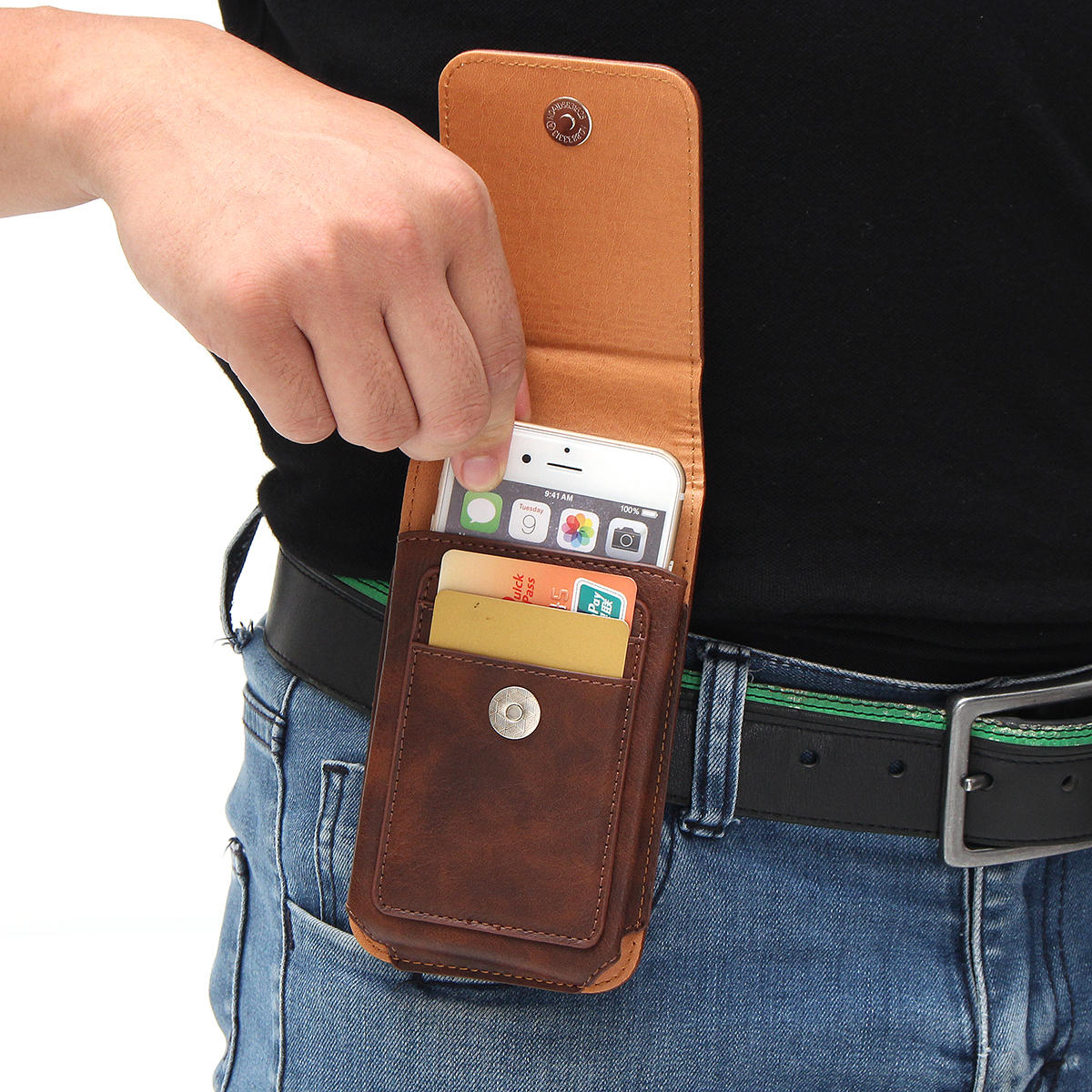 Man Business PU Telefoon Wallet Card Bag Portemonnee Portemonnee Dual Use Waist Bag - 2