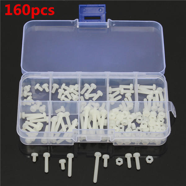 Suleve™ M3NR1 M3 Nylon Screw White Nylon Screws Bolt & Nuts Assortment Kit 160pcs