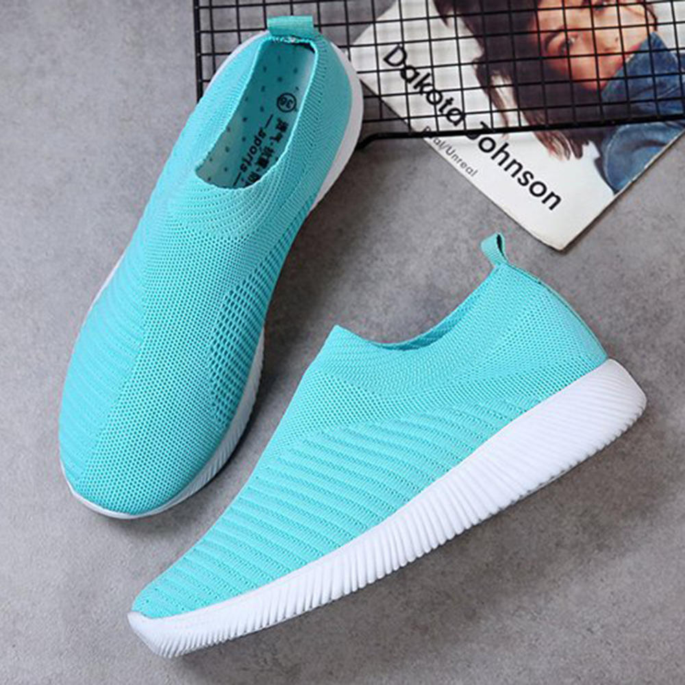 TENGOO Women Casual Shoes Plus Size Breathable Mesh Slip on Vulcanize Shoes Ladies Sneakers - 7
