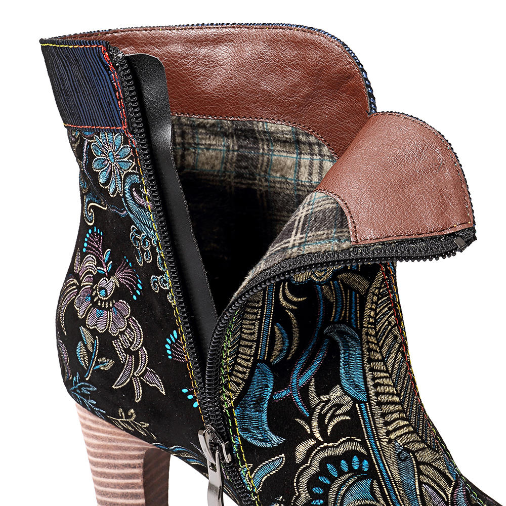SOCOFY Splicing Pattern Button Zipper Ankle Leather Boots - 5
