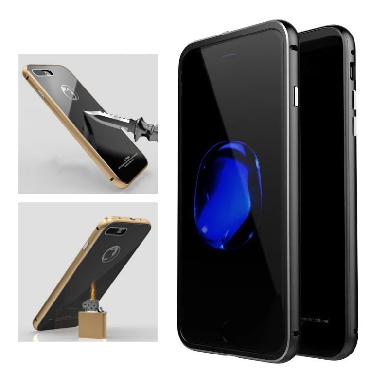 Luphie Metal Bumper + 9H Herdet Glass Shell Case For iPhone 7/7 Plus & 8/8 Plus