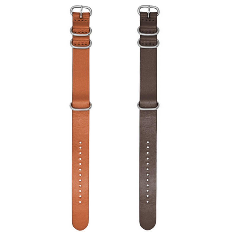18/20/22mm Kraft Layer Leather Watch Strap Stainless Steel Rings Watch Band
