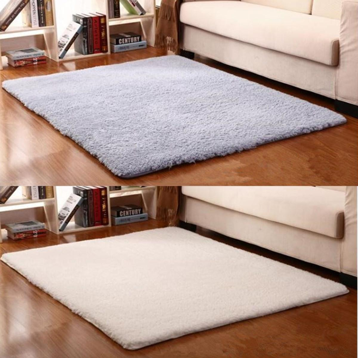 Modern Non Slip Polyester Carpet Area Rug Bedroom Linving Room Floor Bath Mat