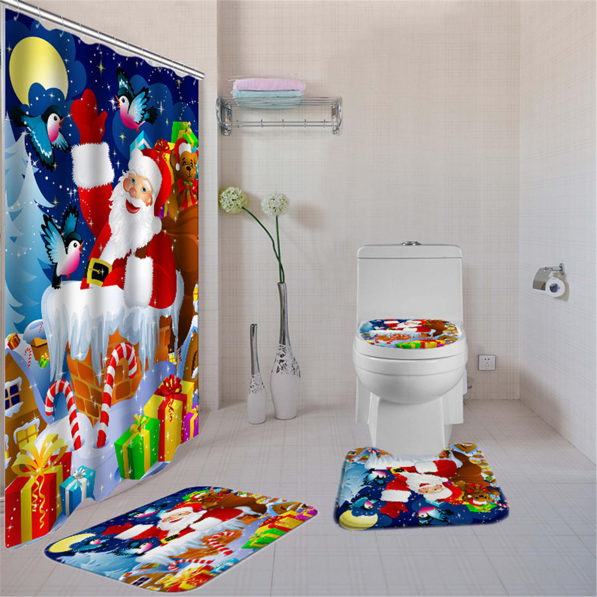 180x180 Christmas Gifts Shower Curtain With Hooks Waterproof Bathroom Carpet Set