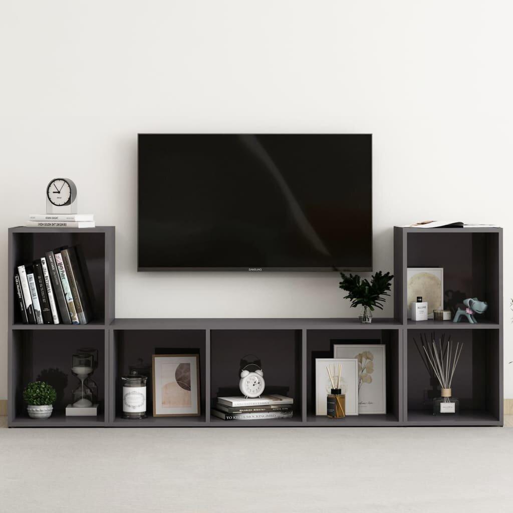 3 Piece TV Cabinet Set High Gloss Gray Chipboard