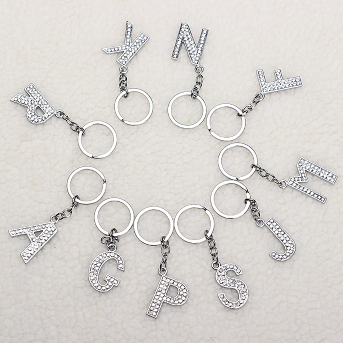 Simple Style Charm Letter Initial Key Ring Shiny Crystal Silver Key Chain Tag - 2