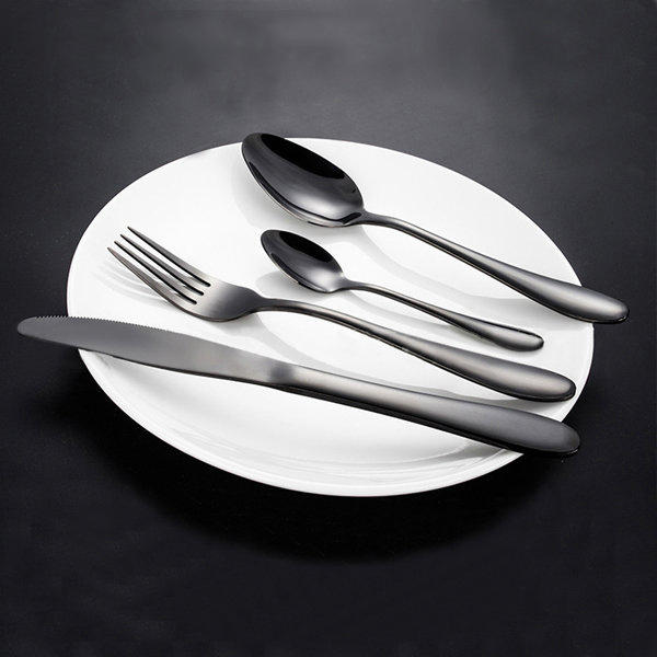 KCASA KC-FL200 Stainless Steel Black Gold Flatware Dinnerware Cutlery Fork Knife Spoon Tableware Set - 1