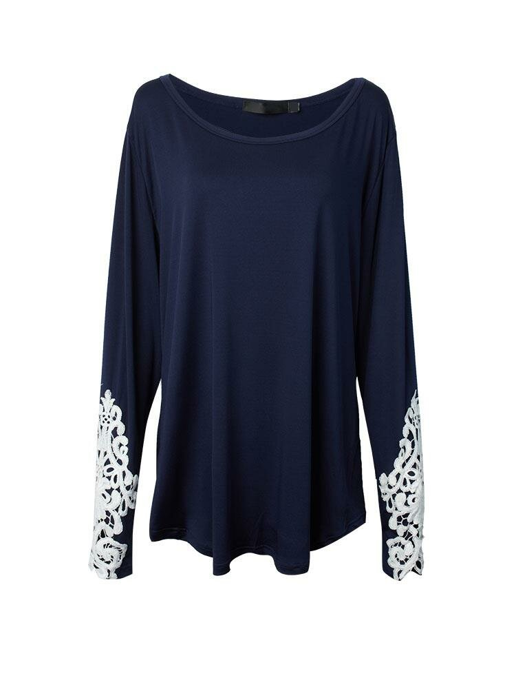 Women Sexy Crew Neck  Embroidery Lace Long Sleeve Casual T-Shirt  Blouse