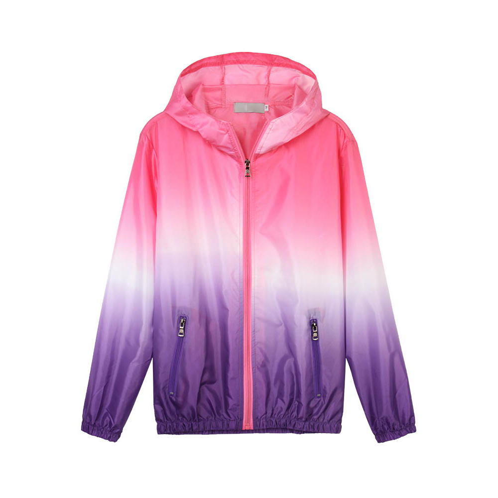 Casual Women Hooded Gradient Sport Sun Protection Coat - 1