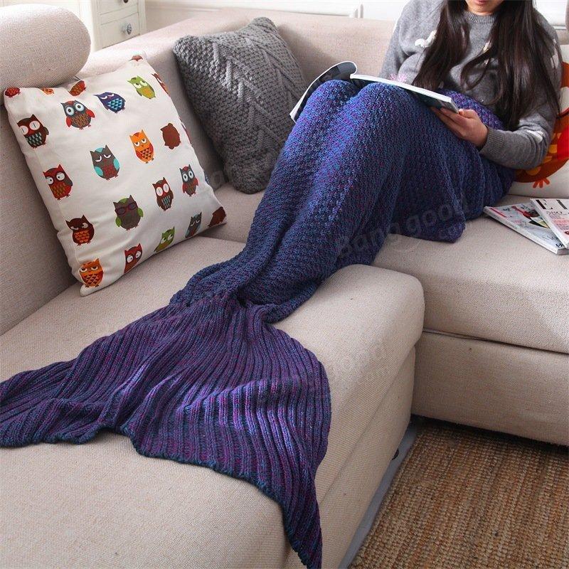 Yarn Knitted Mermaid Tail Blanket Handmade Crochet Throw Super Soft Sofa Bed Mat Sleeping Bag - 1