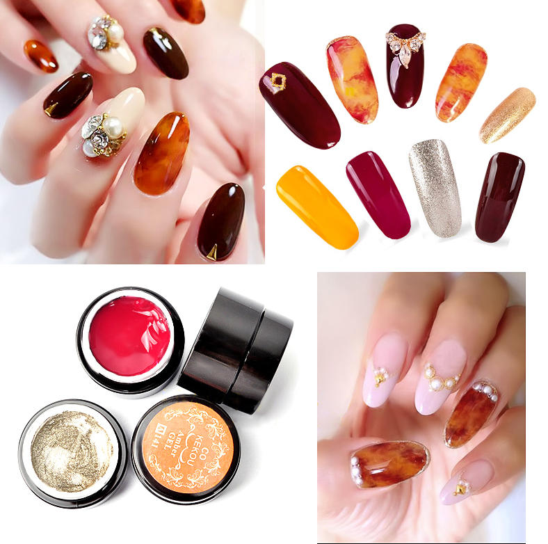 4 colors amber uv gel polish nail art painting design color gradate ...