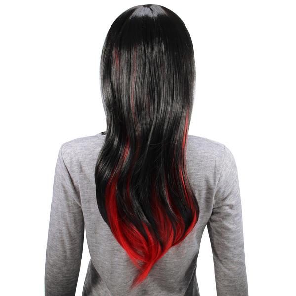 Animazione nero rosso parrucca stratificata capelli sintetici lunghi donne etero parrucche 70cm cosplay partito - 4