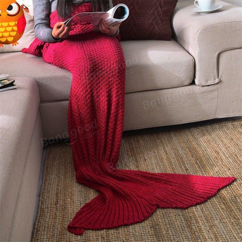 Yarn Knitted Mermaid Tail Blanket Handmade Crochet Throw Super Soft Sofa Bed Mat Sleeping Bag - 5