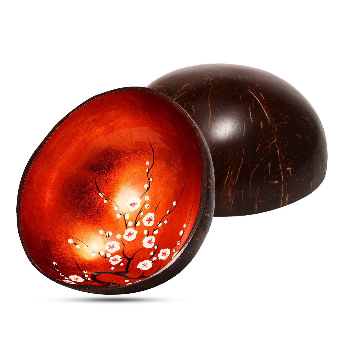 Natural Coconut Shell Bowl Handmade Paint Dishes Vintage Craft Home Decorations - 9