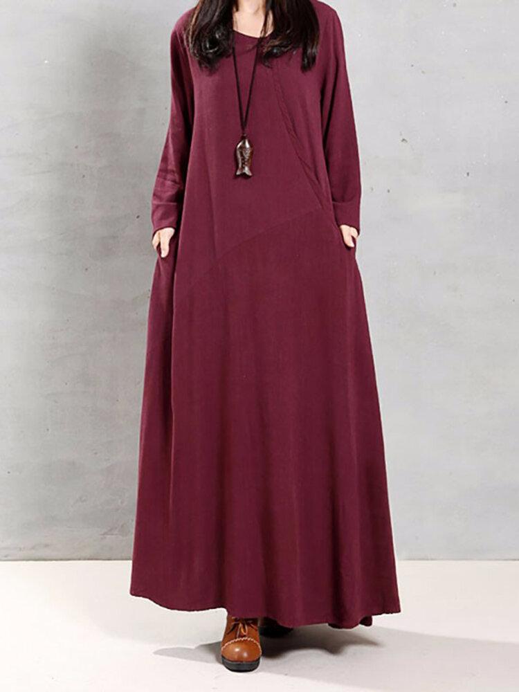 Vintage Wanita Cotton O-Neck Warna Solid Irregular Hem Maxi Gaun