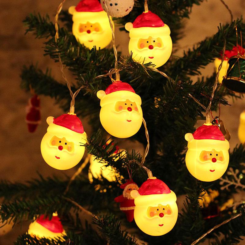 Giáng sinh 1.5M 10 Đèn LED chuỗi Fairy Santa đáng yêu Trang trí hoạt động bằng pin cho vòng hoa Giáng sinh
