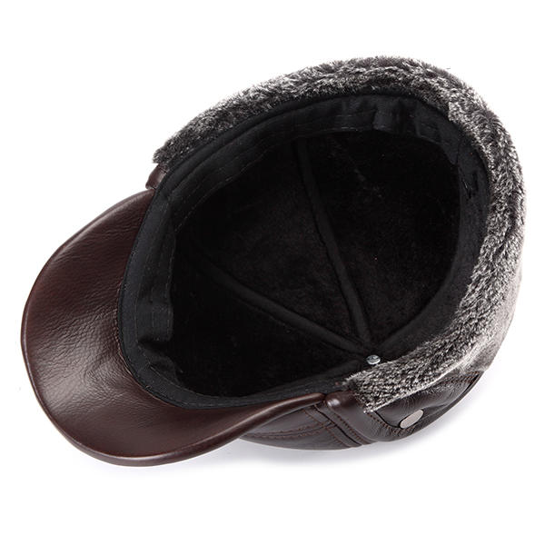 Mens Leather Hat Cowhide Hat Outdoor Leather Hat - 9