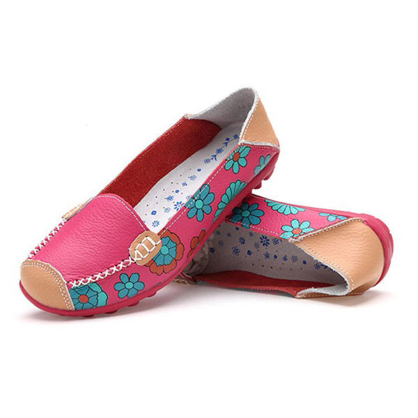 Big Size Women Flower Floral Leather Loafers Moccasins Flats Soft Ballet Shoes Round Toe Flats - 6