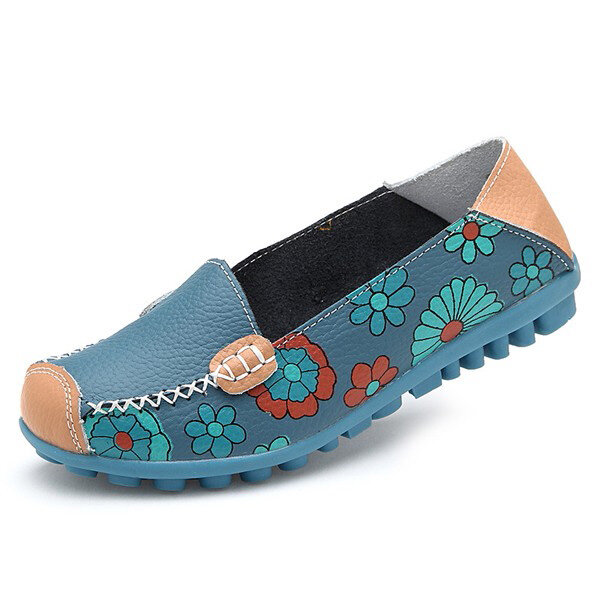 Big Size Women Flower Floral Leather Loafers Moccasins Flats Soft Ballet Shoes Round Toe Flats - 9