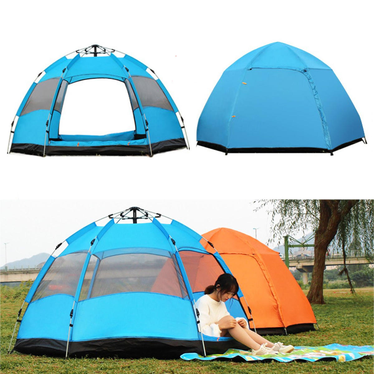 5-8 People Automatic Pop Up Instant Large Tent Waterproof Outdoor Camping Family UV Sunshade Shelter фото