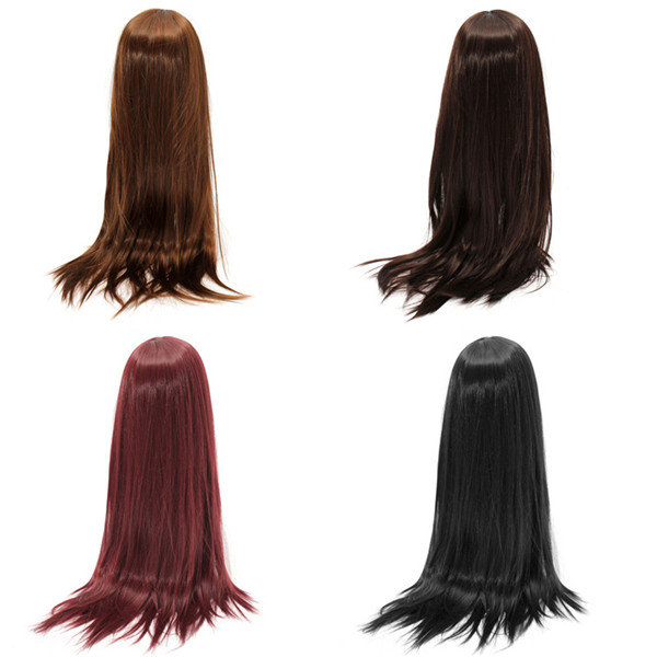 Women Cosplay Wigs Long Straight Wig Black Hair Halloween Party Dress 80cm - 7
