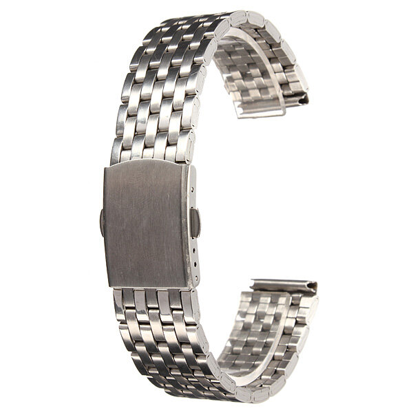 18/20/22mm Silver Stainless Steel 7 Bead Fold Buckle Watch Band