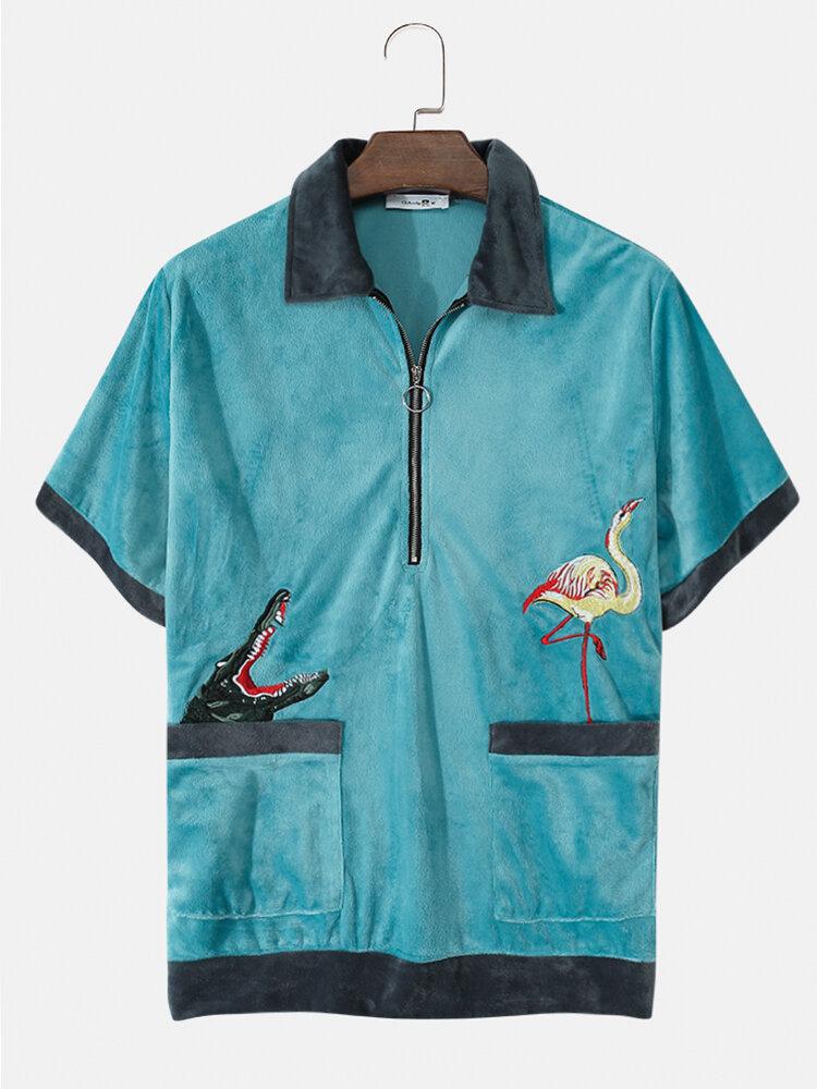 Banggood coupon: Mens Cabana Terry Cloth Half Zip Toalha Animal Camisas bordadas