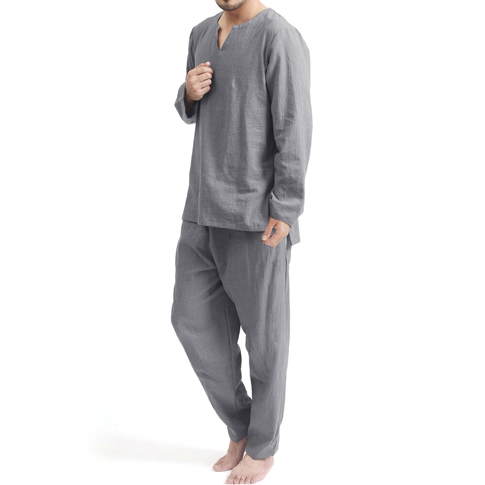 Mens Casual Crew Neck Set Printing Elastic Waist Home Suit - 5