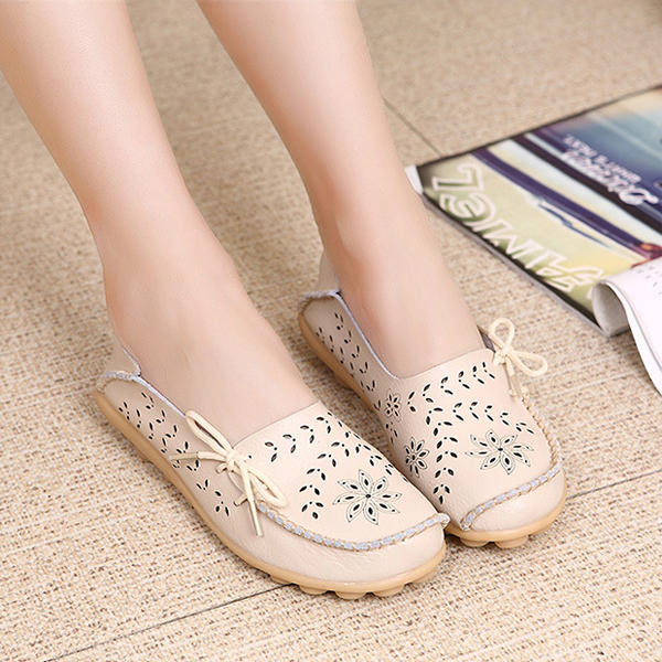 Comfortable Hollow Out Splicing Flat Loafers - 8