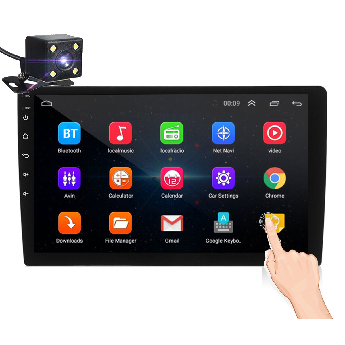 iMars 10.1 Inch 2Din for Android 8.1 Car Stereo Radio 1+16G IPS 2.5D Touch Screen MP5 Player GPS WIFI FM with Backup Camera