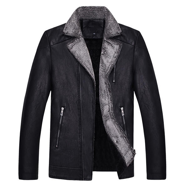 Mens Motorcycle Biker Thick Turn down Collar Coat Zipper Pockets PU Leather Jacket - 2