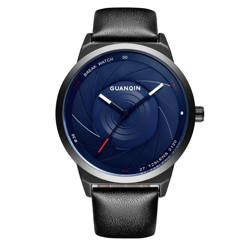 GUANQIN GS19074 Men Watch Luxury Fashion Creative Leather Strap Male Quatz Wrist Watch