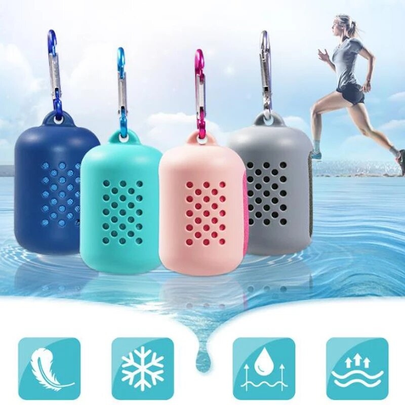 30*80 cm Portable Quick Drying Microfiber Soft Towel Utility Enduring Instant Cooling Face Towel Ice Cool Towel With Sil