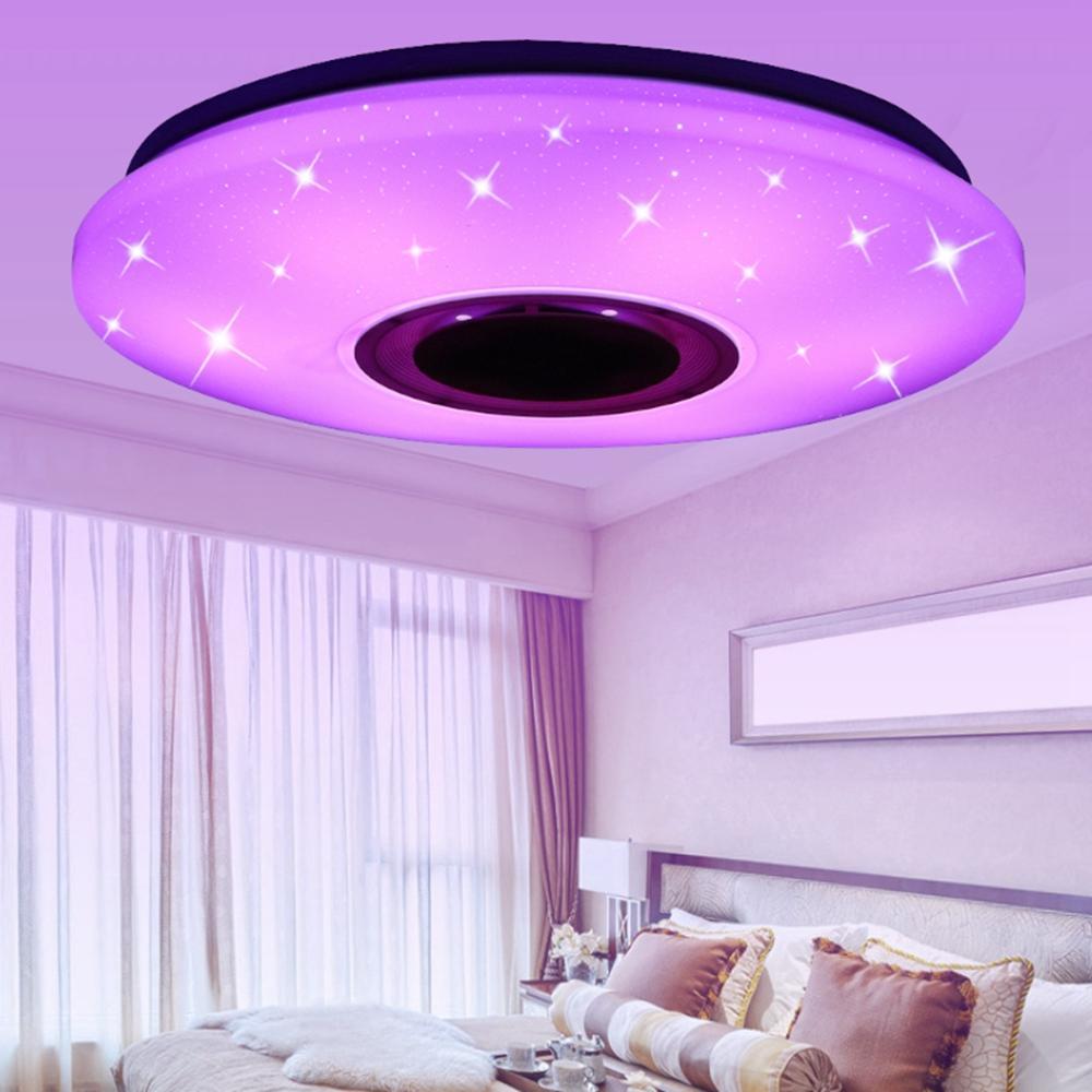 Modern LED Ceiling Light bluetooth Music Speaker RGB APP Remote Control Lamp - 4