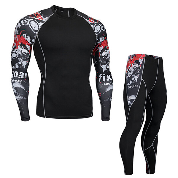 PRO Compression Running Training Sports Suit Men Quick Drying Breathable Tights Jogger Gym Sportwear - 2