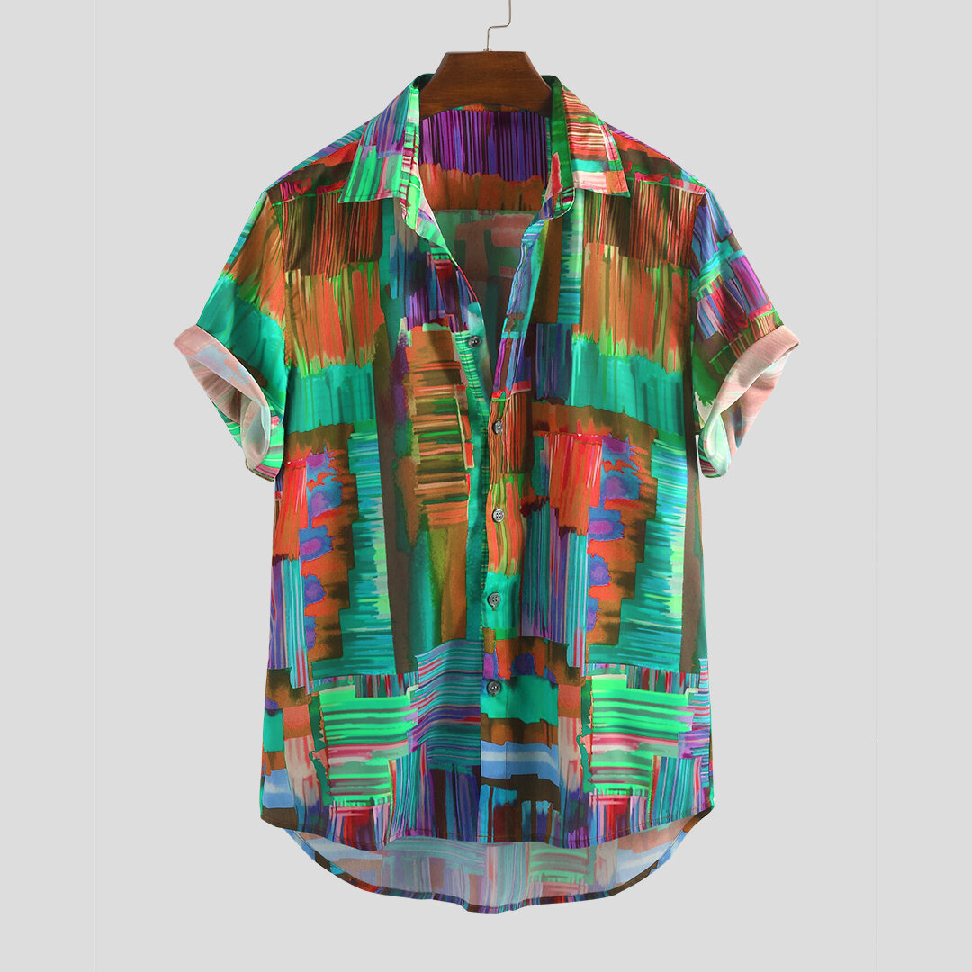 Mens Fashion Abstrct Painting Printed Loose Comfy Casual Shirts - 3