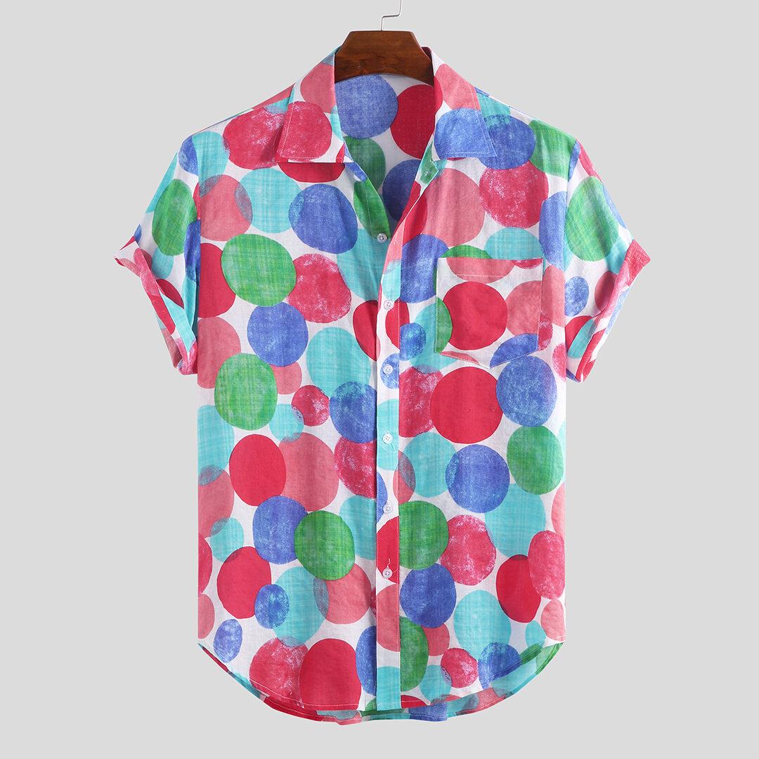 Mens Sommar Colorful Rundhet Tryckt Kortärmad Casual Skjortor