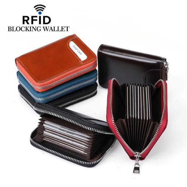RFIDHerenendamesechtleer 12 kaartslot portemonnee Korte portemonnee - 1