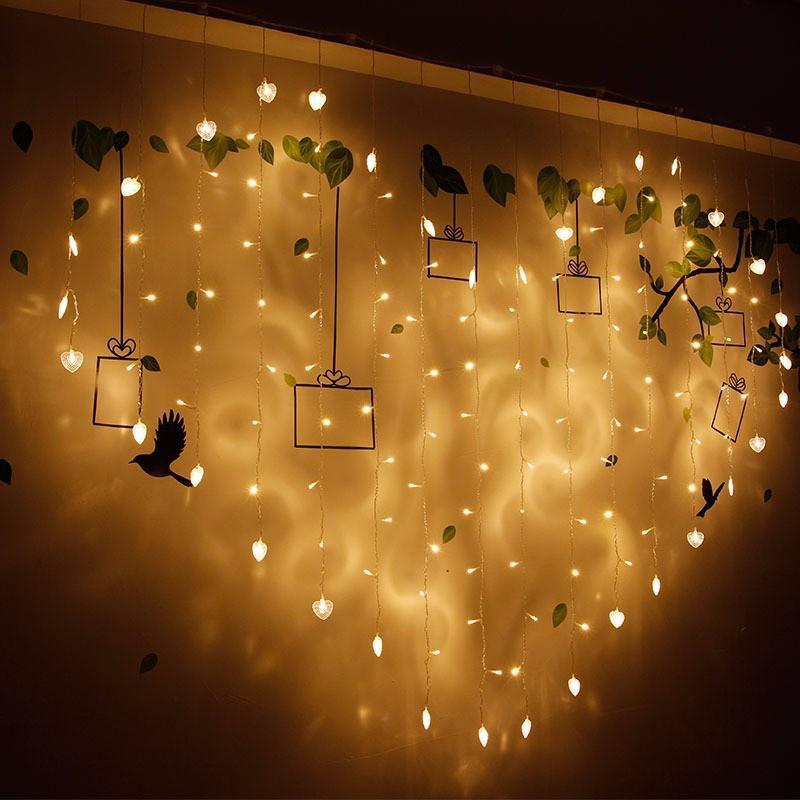 2x1m 128 Led Heart Shape Light String 220v Curtain Home Decor Celebration For Festival Christmas