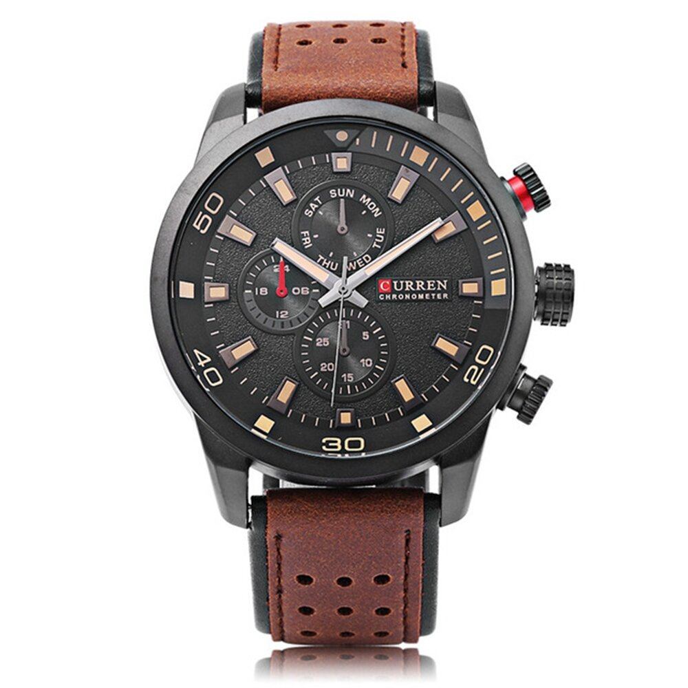CURREN 8250 Luxury Leather Watch Band Fashion Casual Men Quartz Wrist Watch - 2