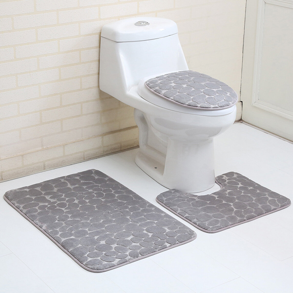 Amazing 3Pcs Toilet Seat Covers Bathroom Carpet Non Slip Pedestal Rug Lid Toilet Cover Bath Mat Set Gmtry Best Dining Table And Chair Ideas Images Gmtryco